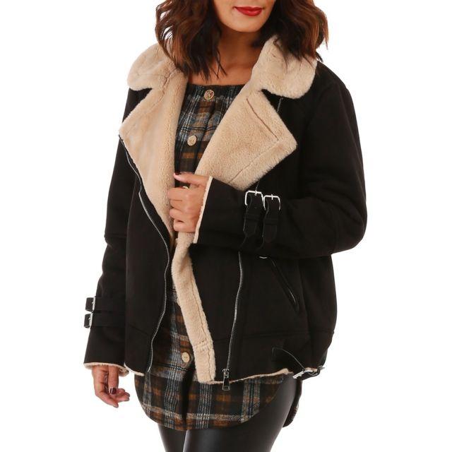 Manteau court fourré noir en suédine à col en fausse fourrure