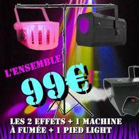 Ibiza Light - Pack Jeux De LumiÈRE Dj Led Light + 1 Gobo Flower + 1 Derby Led + 1 Pied LumiÈRE + 1 Machine A FumÉE Pa Dj Power Light