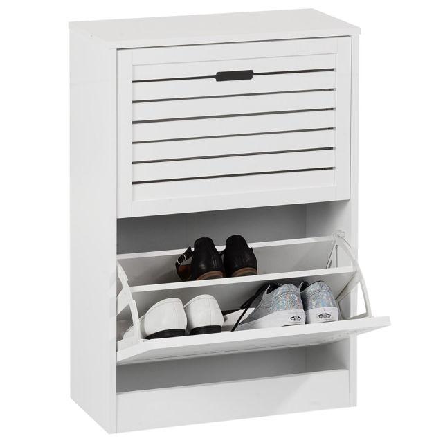 IDIMEX - Meuble à chaussures en colonne ADRIA armoire avec 2 abattants rangement pour 12 paires ...