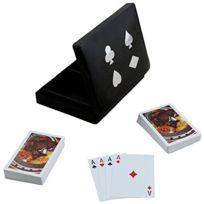 Royaltyroute - Boîte en bois respectivement deux cartes à jouer Deck Set titulaire 16 x 12 cm x 4 cm
