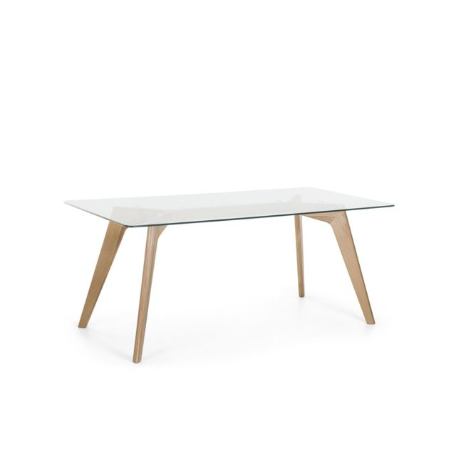 BELIANI Table de salle à manger 180x90 HUDSON - transparent