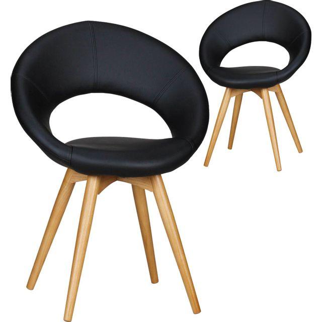 Comforium Lot de 2 Chaises design scandinave en bois et simili cuir coloris noir