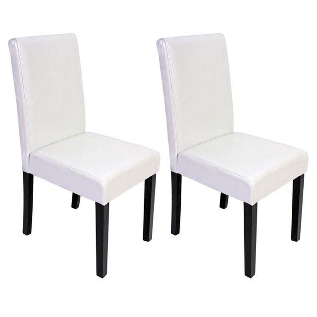 Mendler Lot de 2 chaises de séjour Littau, simili-cuir, blanc, pieds foncés