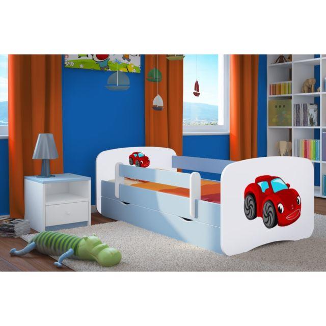 carellia lit enfant voiture rouge 80 cm x 160 cm avec barriere de securite sommier. Black Bedroom Furniture Sets. Home Design Ideas