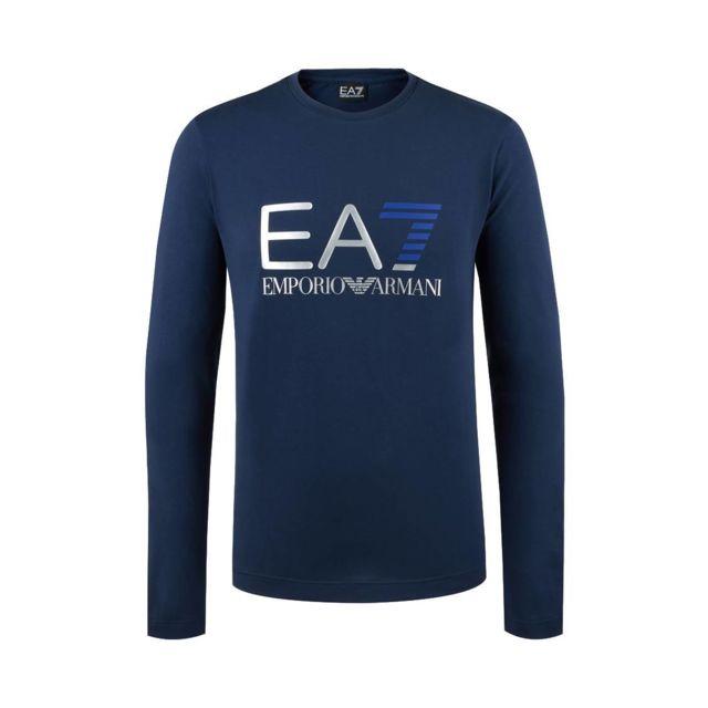 Armani Ea7 - Tee-shirt col rond manches longues Ea7 en coton stretch bleu  marine e33ecb7a182