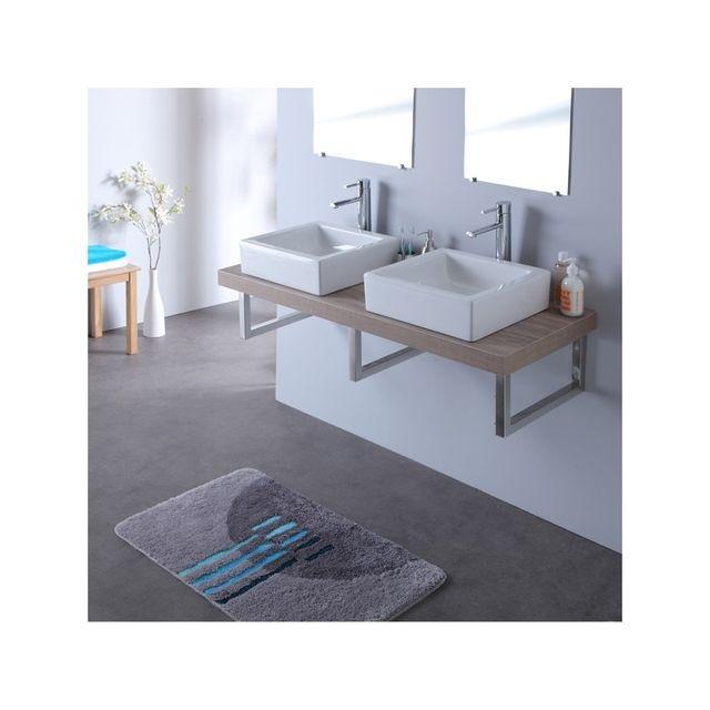 Planetebain console double vasque avec vasques elec blanches 120 cm gris lamelle pas cher - Console salle de bain ...