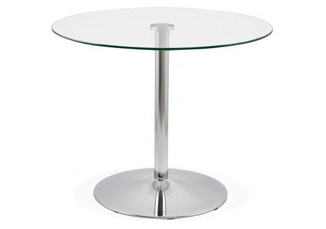 Declikdeco La Table à Manger Ronde Métal et Verre D90 Pinner associe un plateau en verre à un pied chromé pour un effet chic et mod