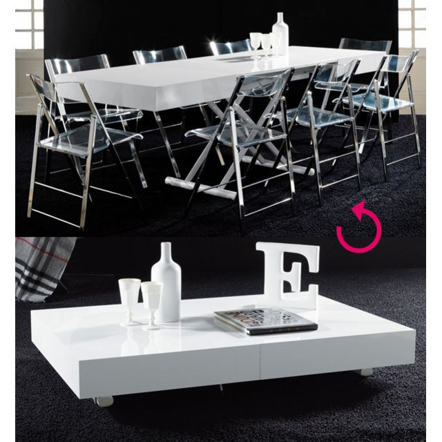 Sofamobili Table basse relevable blanc laqué design Jacinta