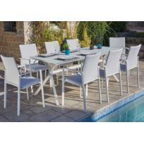 Ensemble de jardin de 8 fauteuils empilables + 1 table en aluminium blanc