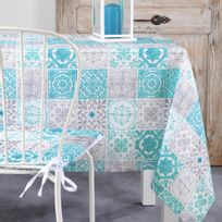 Lovely Casa - Nappe de table 140x250cm Lisboa Bleu Carreau