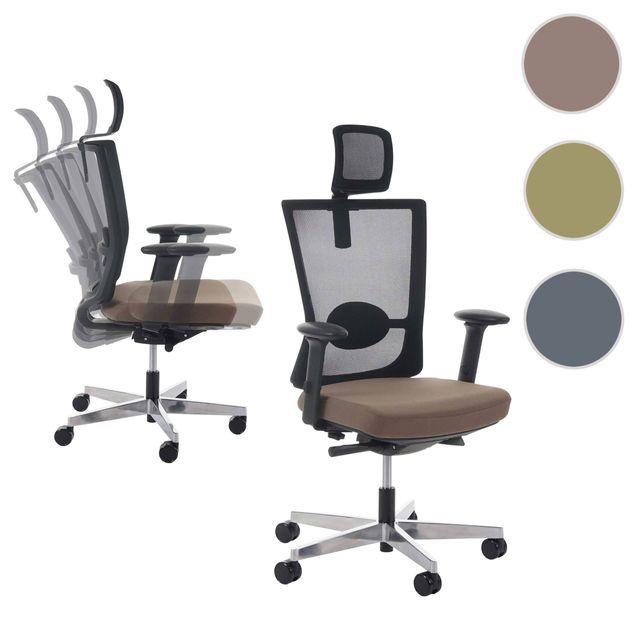 Mendler fauteuil de bureau belfast chaise pitovante ergonomique taupe avec appui t te - Fauteuil de bureau avec appui tete ...