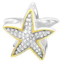 Sochicbijoux - So Chic Bijoux © Charm Perle Etoile de Mer Surface Perlée Plaqué Or & Argent 925 - Compatible Pandora, Trollbeads, Chamilia, Biagi