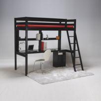 No Name - Lit mezzanine Kim 90x190 cm + caisson 3 tiroirs + bureau + étagère + sommier
