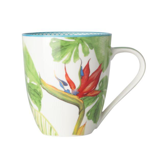 Bruno Evrard - Mug en porcelaine décor tropical 50cl - Lot de 4 - Porcelaine - Multicouleurs