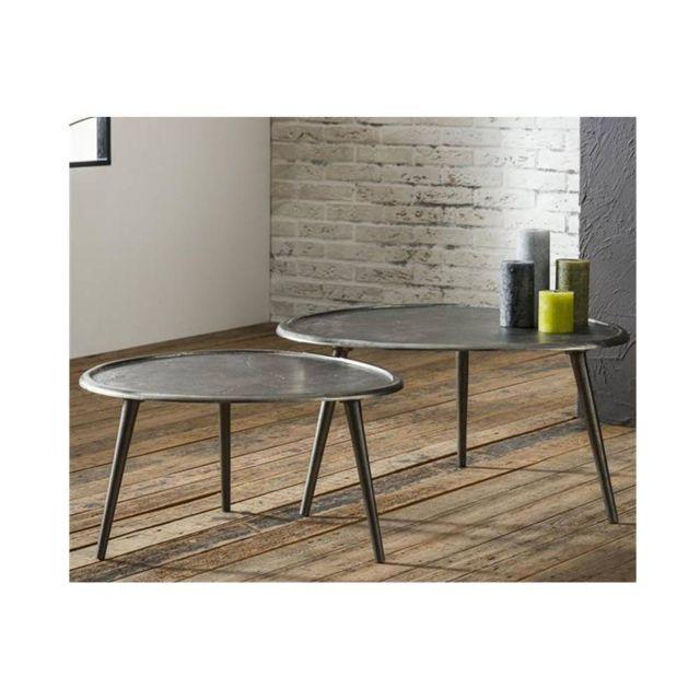 Inside 75 Lot de 2 Tables basses Sabli Gm design coule sable