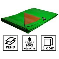 Tecplast - Bâche jardin 250g/m² - bâche bois - bâche de protection plastique verte et marron 3x5 m en polyéthylène