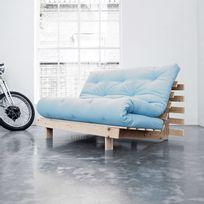 Karup - Banquette convertible en bois avec matelas futon Roots - Bleu céleste - 140x200cm