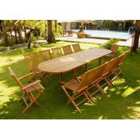 CONCEPT USINE - Kajang 10 chaises 2 fauteuils   Salon en teck massif 12  pers - 5e914421a850