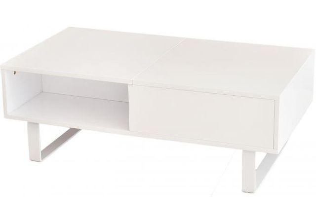 Declikdeco Offrez une déco pleine de charme à votre intérieur tout en y installant cette Table basse blanche avec plateau relevable