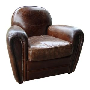 pomax fauteuil club en cuir effet vintage winston cigare marron pas cher achat vente. Black Bedroom Furniture Sets. Home Design Ideas