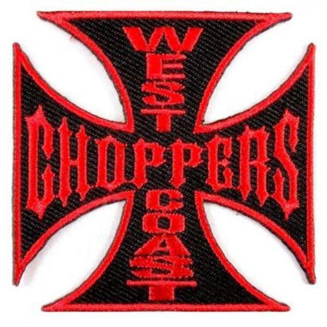 Universel Gros patch west coast choppers noir rouge 19 cm ecusson dos veste blouson