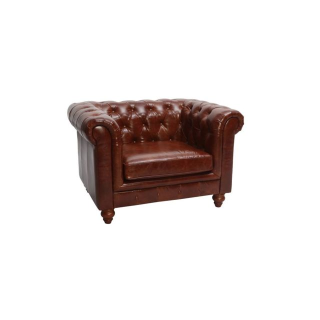 Miliboo Fauteuil design cuir marron Chesterfield