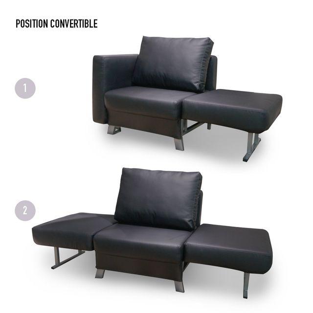 meubler design convertible 1 place solo en simili cuir noir pas cher achat vente. Black Bedroom Furniture Sets. Home Design Ideas