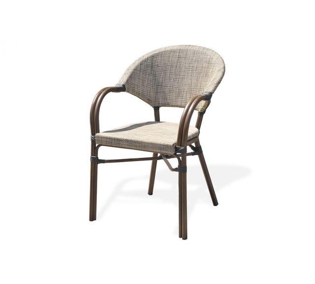 Dcb Garden Fauteuil en aluminium marron et textilène couleur lin