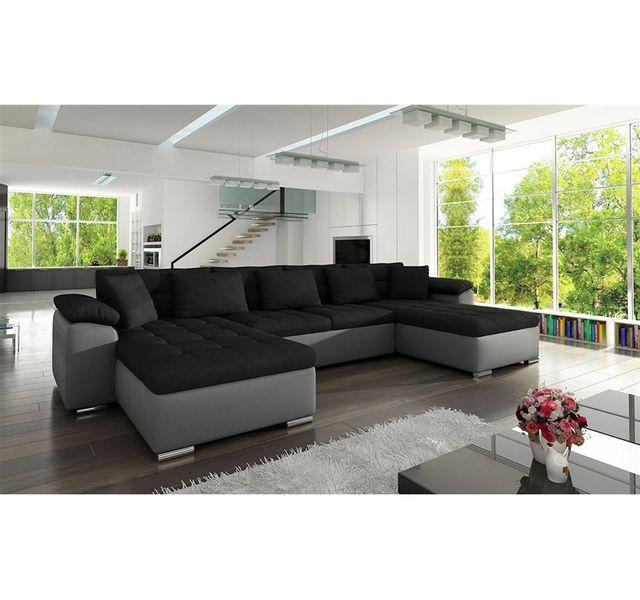 CHLOE DESIGN Canapé panoramique convertible microfibre PU CLEA - noir et gris - Réversible