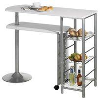 Idimex - Table haute de bar Josua Mdf décor blanc