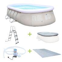 Alice'S Garden - Kit piscine Onyx 5,4x3m gonflable grise, pompe de filtration, bâche de protection, tapis de sol et échelle, hors sol autostable