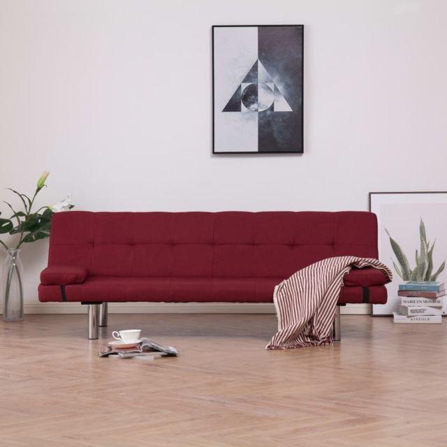 Vidaxl Canapé-lit avec deux oreillers Rouge bordeaux Polyester