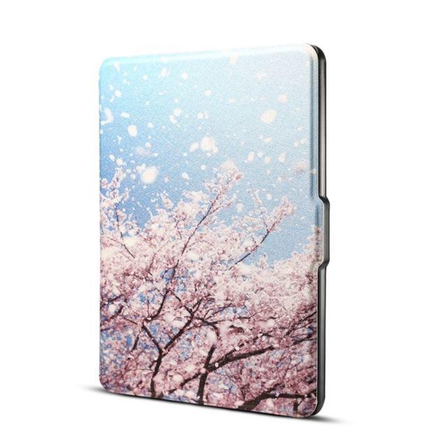 meilleur site web offre amazon Étui de protection en cuir japonais impression cerise horizontale Flip Pu  pour Amazon Kindle Paperwhite 1 & 2 & 3 avec sommeil / réveil