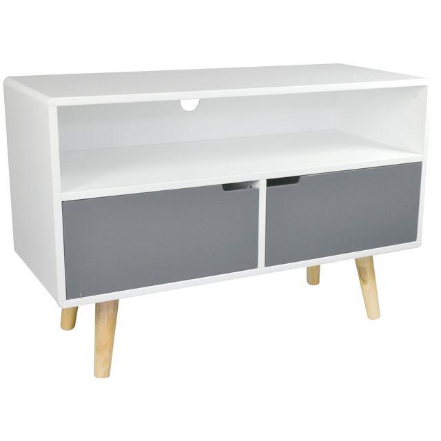 promobo meuble de salon support tl pieds bambou 2 portes avec une niche style zen blanc pas cher achat vente etagres rueducommerce