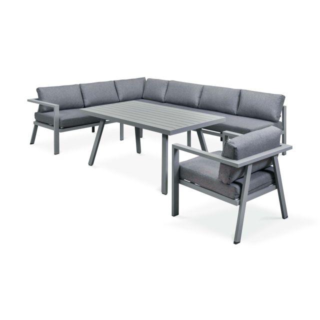 Salon de jardin 8 places en aluminium - Gris