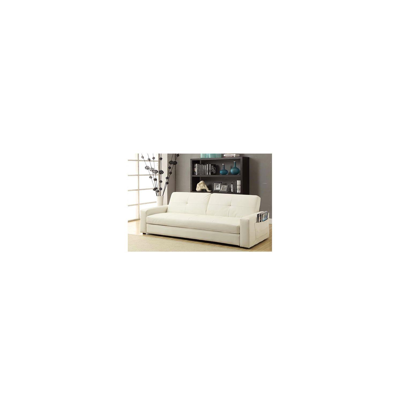 Design et Prix - Magnifique canape lisboa : canapé 3 personnes blanc convertible lit + coffre de rangement pu
