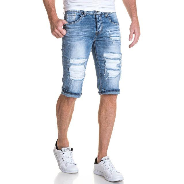 dded3668ace4ad BLZ Jeans - Bermuda homme bleu clair en jean déchiré - pas cher ...