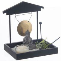 Touslescadeaux - Jardin Zen Japonais Bouddha avec Sable, Gong, photophore