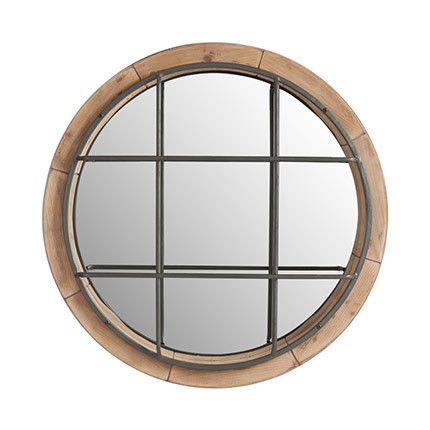 Miroir rond 63cm diam en fer et bois naturel