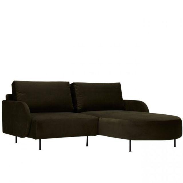 Canapé d'angle droit ALFA ROUND 2 places velours vert pieds métal
