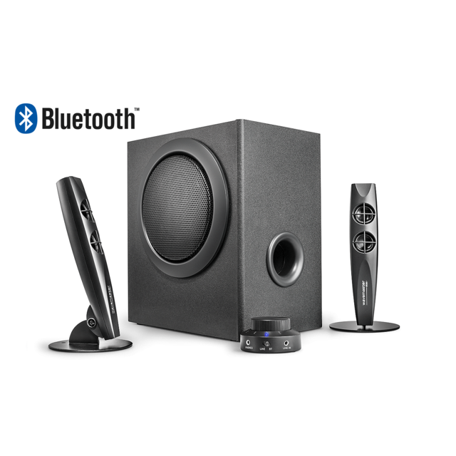 Wavemaster Stax Bt - Kit d'enceintes 2.1 Stereo Bluetooth 46 Watt, Pour Tv - gaming - smartphone - Pc - tablette
