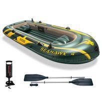 INTEX - Kit bateau gonflable Seahawk 4 avec rames et gonfleur - 4 places