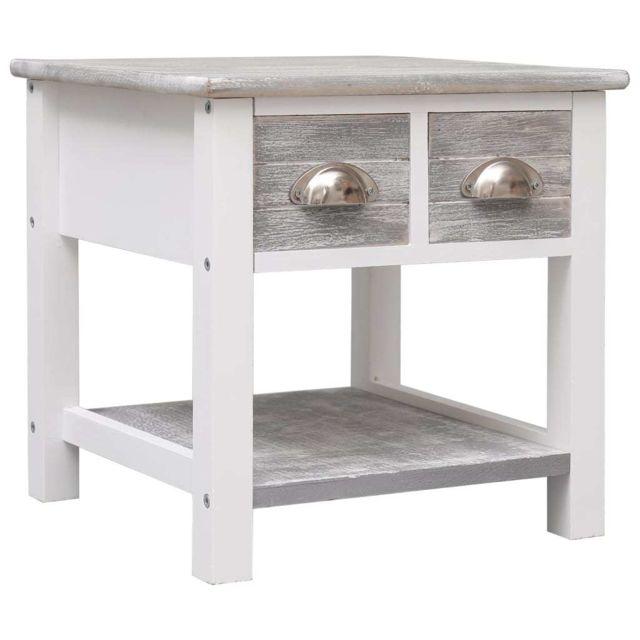 Uco Table d'appoint Gris 40x40x40 cm Bois de Paulownia