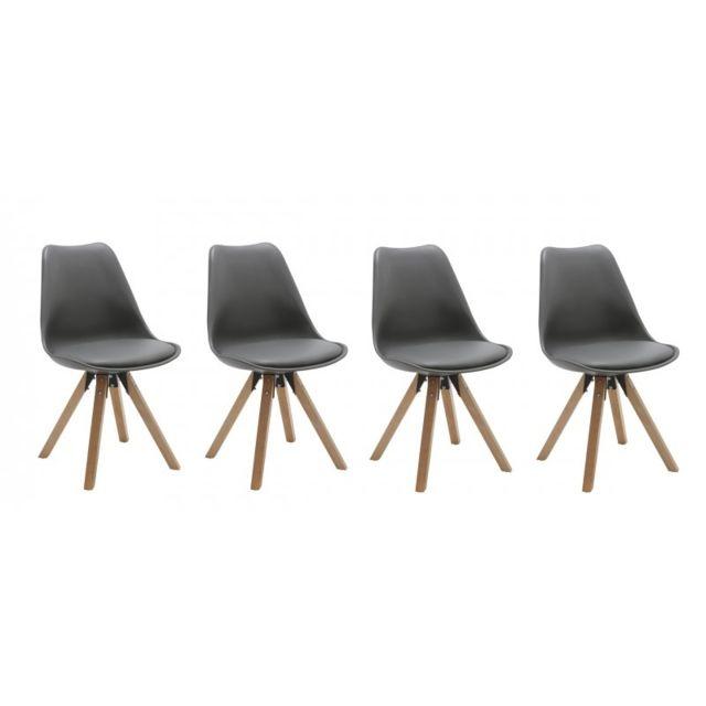 Autre Set de 4 chaises de salle à manger design simili-cuir gris pieds bois Cds09129
