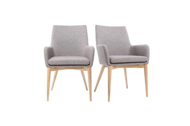 Miliboo Lot de 2 fauteuils design bois clair et tissu gris Shana