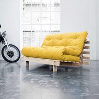 Karup - Banquette convertible en bois avec matelas futon Roots - Jaune - 140x200cm