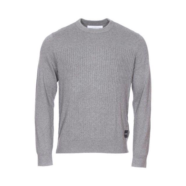 Calvin Klein - Pull col rond Jeans Institutional en coton et cachemire gris  chiné - pas cher Achat   Vente Pull homme - RueDuCommerce 52278f10f5cc