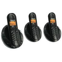 TELEFUNKEN - Téléphone fixe sans fil avec répondeur TB 253 Peps trio noir