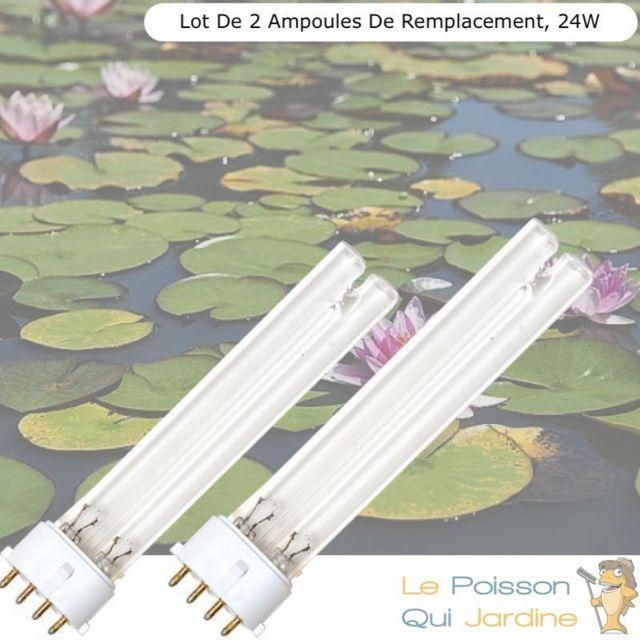 Le Poisson Qui Jardine Lot de 2 Ampoules De Remplacement, Uvc 24W, Pour Aquarium, Bassin De Jardin