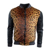 Gov Denim - Veste homme noir motif léopard Dxf013_BK XXL
